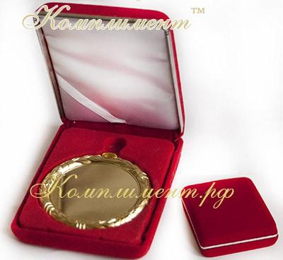 Футляр для медали (красный, размер 75 мм*10 мм, флок, основа - металл, место под медаль 70 мм)