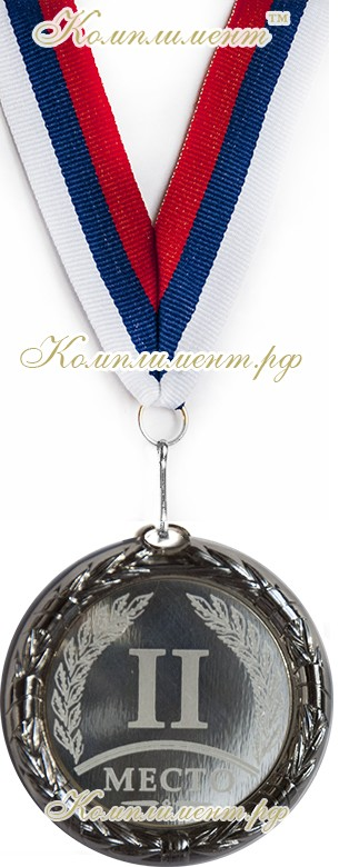 """Медаль """"2 место"""", цвет """"серебро"""""""