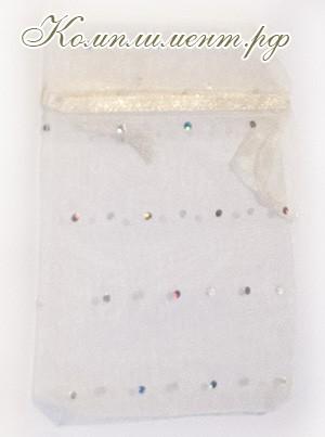 Мешочек (органза, блестки, размер 10 см*12 см, цвет - белый)