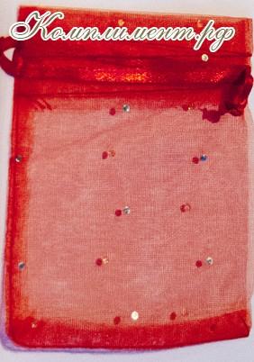 Мешочек (органза, блестки, размер 10 см*12 см, цвет - красный)