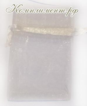 Мешочек (органза, размер 7 см*9 см, цвет - бежевый)