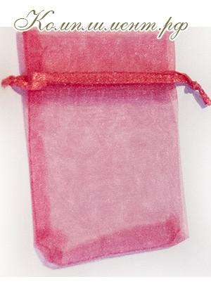 Мешочек (органза, размер 7 см*9 см, цвет - малиновый)