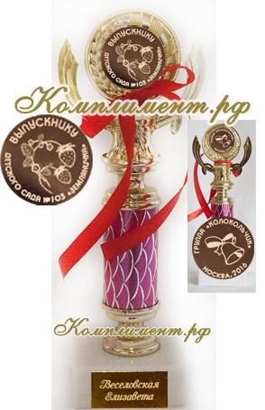 Кубок Выпускник детского сада (на узкой ножке малинового цвета, 3 вкладыша)