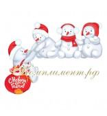 Карабкающиеся снеговики (плакат вырубной угловой)