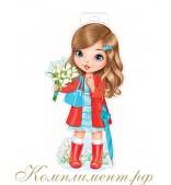 Девочка с зонтиком и букетом (плакат вырубной)
