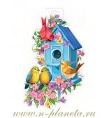 Птички и синий скворечник (плакат вырубной)