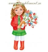 """Плакат """"Девочка"""" (букет. белые, красные тюльпаны)"""