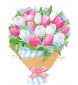 """Плакат """"Тюльпаны белые, розовые"""""""