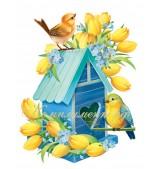 """Плакат """"Скворечник, желтые тюльпаны"""""""
