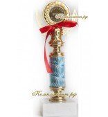 Кубок (узкая ножка голубого цвета, гравировка 25 мм)