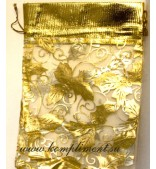 Мешочек (органза) желтый с золотом, размер 14,5 см*21 см