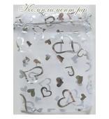 Мешочек (органза, размер 13 см*18 см, белый с сердечками)