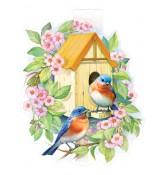Птички в скворечнике (плакат вырубной двусторонний для украшения помещения)