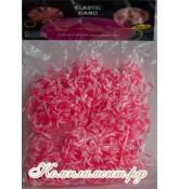 Резинки для плетения браслетов (розово-белый)