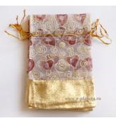 Мешочек (органза), размер 12 см *7,5 см, белый, с сердечками и золотистой вставкой,